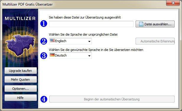 Screenshot von Multilizer PDF-Übersetzer.